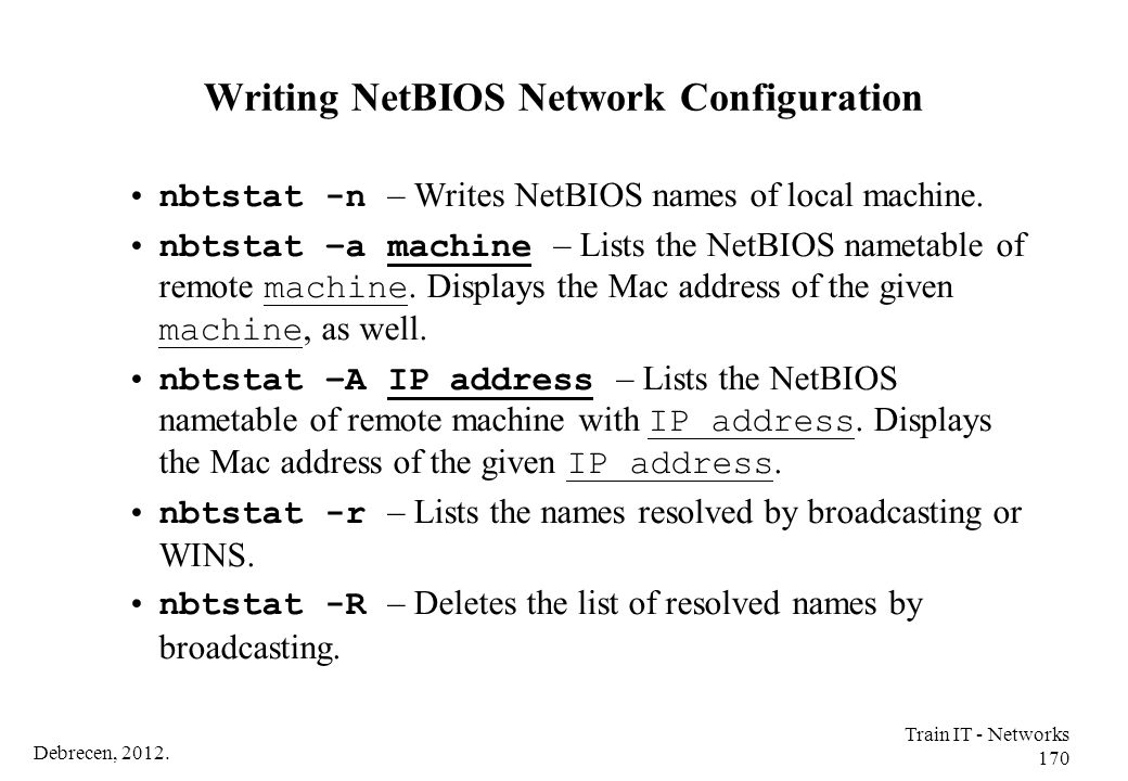Writing NetBIOS Network Configuration
