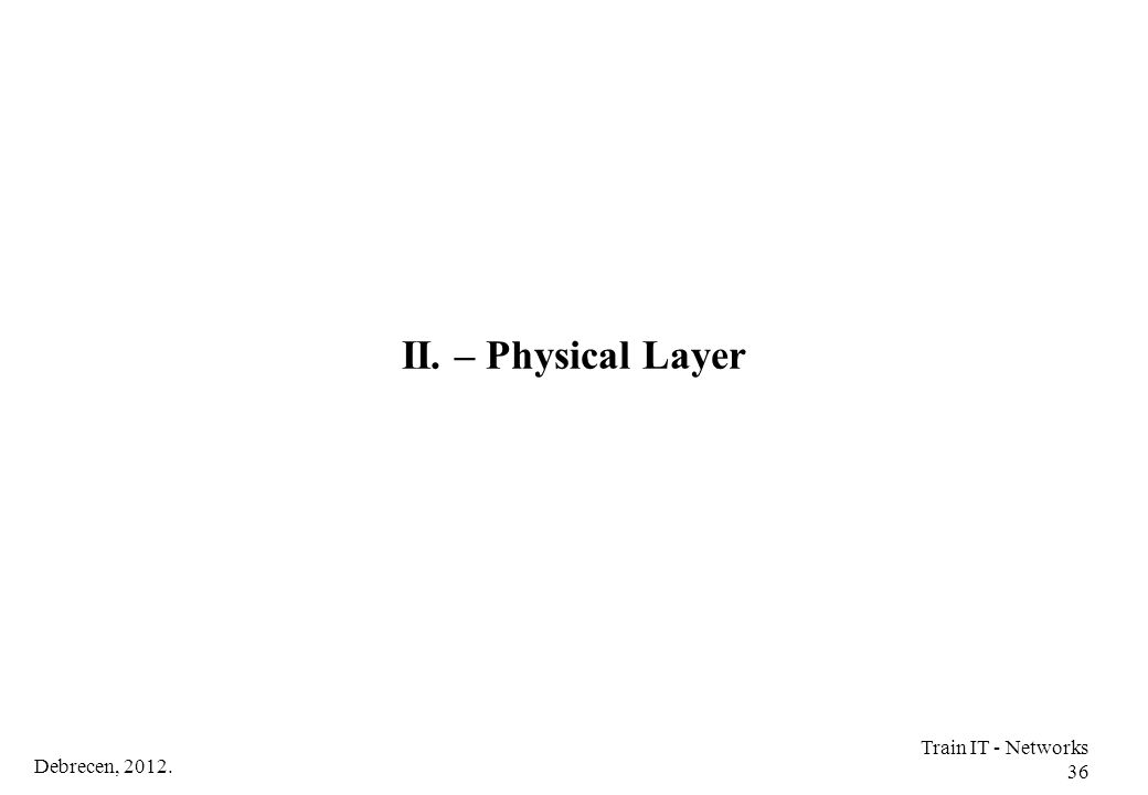 II. – Physical Layer Train IT - Networks 36 Debrecen, 2012.