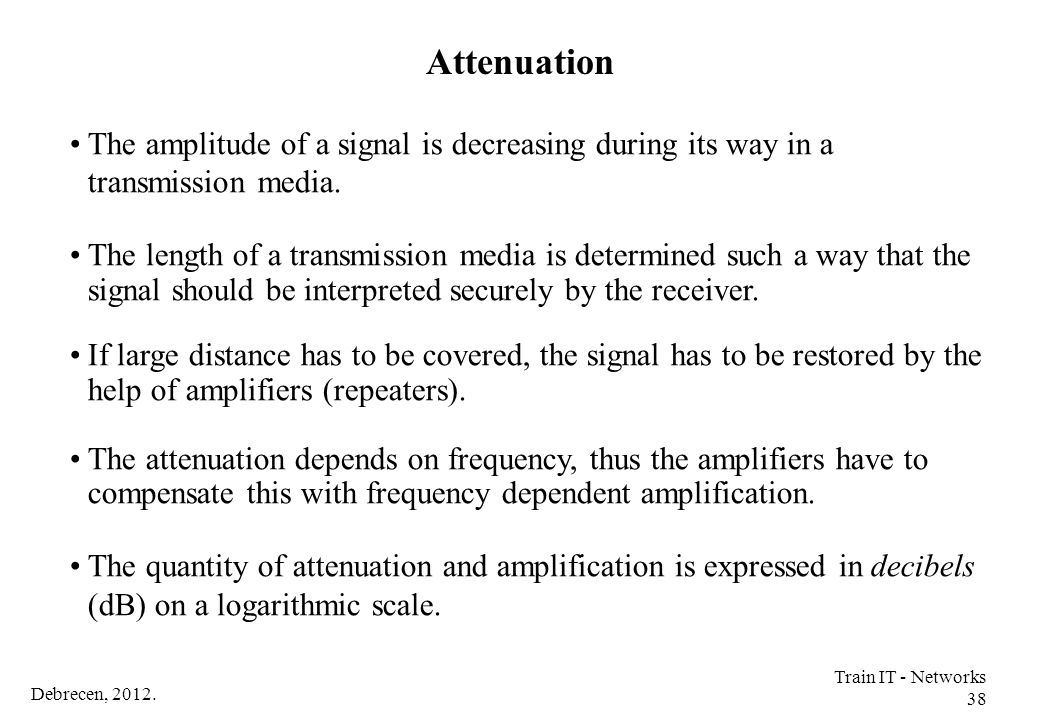 Attenuation The amplitude of a signal is decreasing during its way in a transmission media.