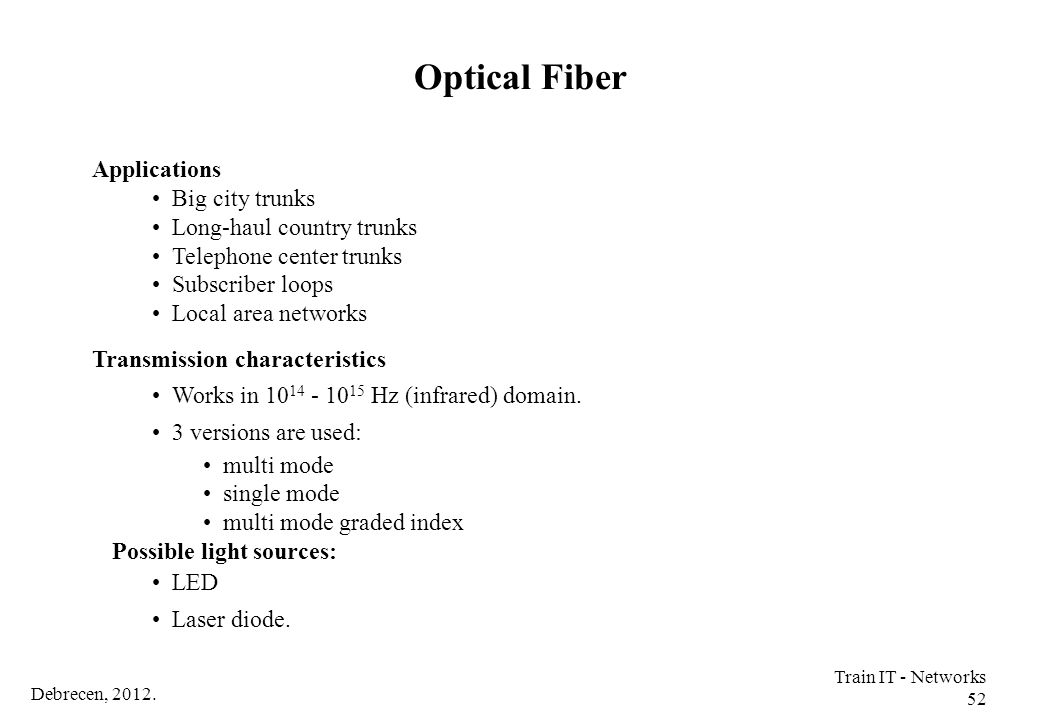 Optical Fiber Applications Big city trunks Long-haul country trunks