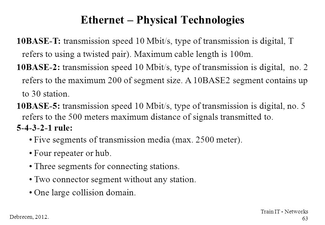 Ethernet – Physical Technologies