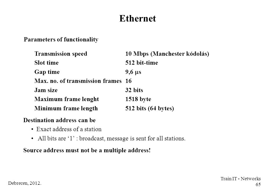 Ethernet Parameters of functionality