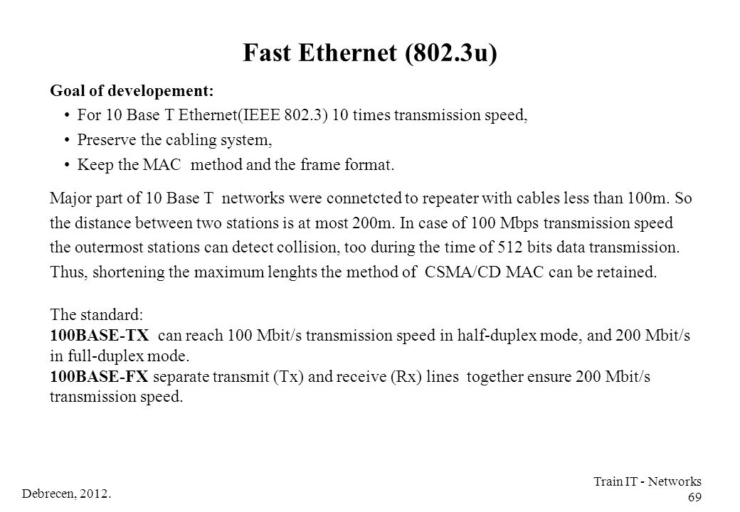Fast Ethernet (802.3u) Goal of developement: