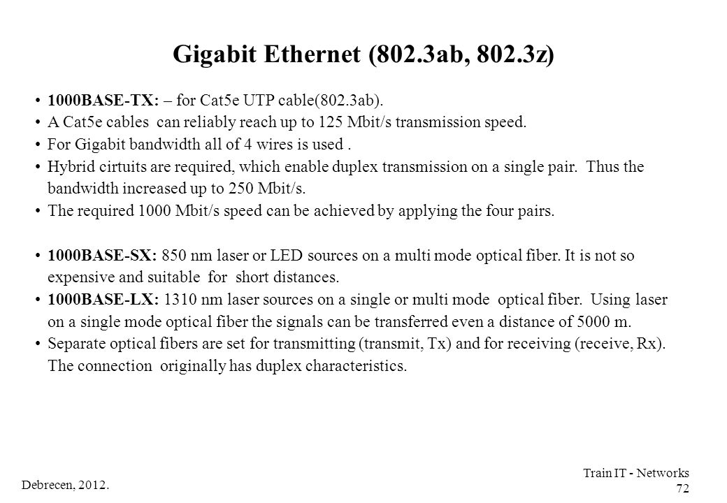 Gigabit Ethernet (802.3ab, 802.3z)