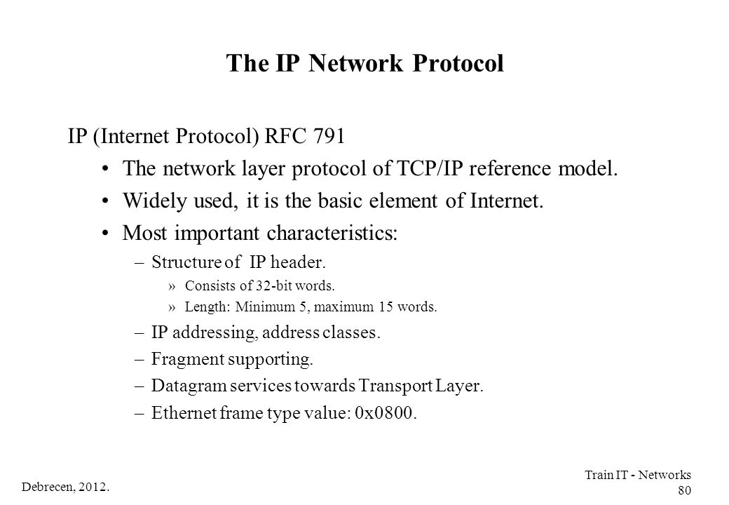 The IP Network Protocol