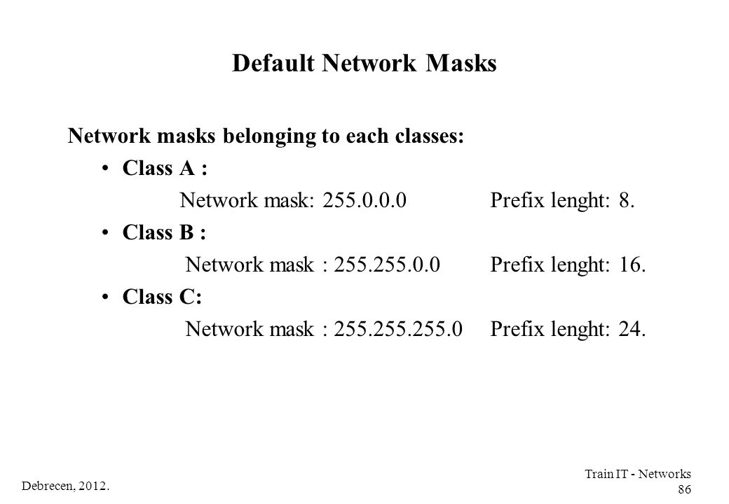 Default Network Masks Network masks belonging to each classes: