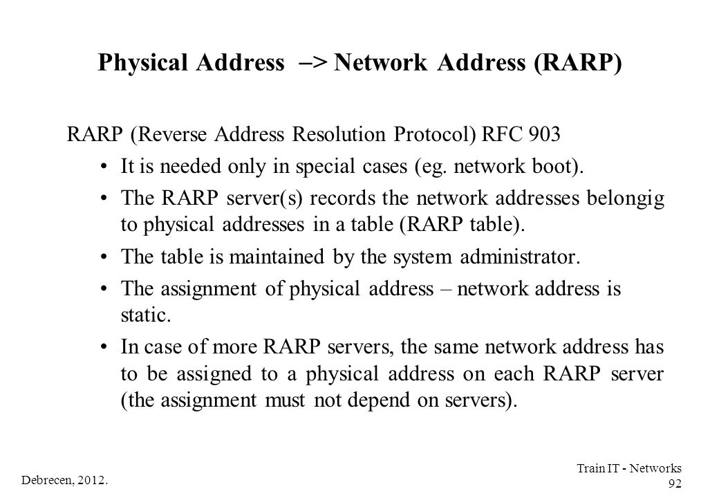 Physical Address -> Network Address (RARP)
