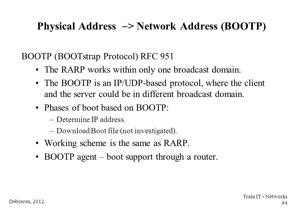 Physical Address -> Network Address (BOOTP)