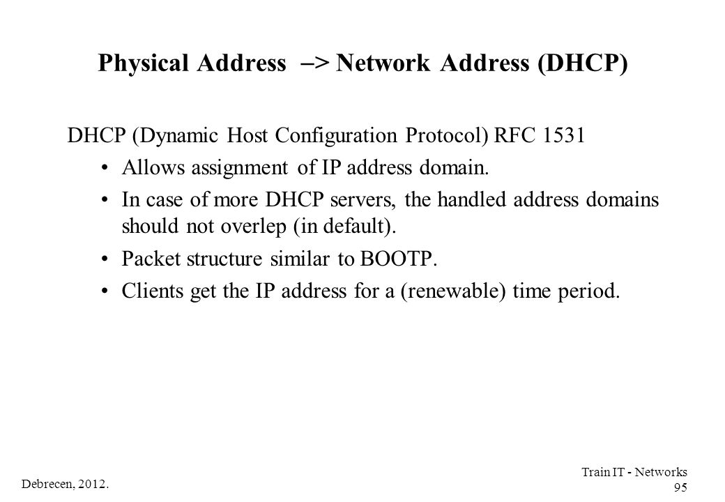 Physical Address -> Network Address (DHCP)