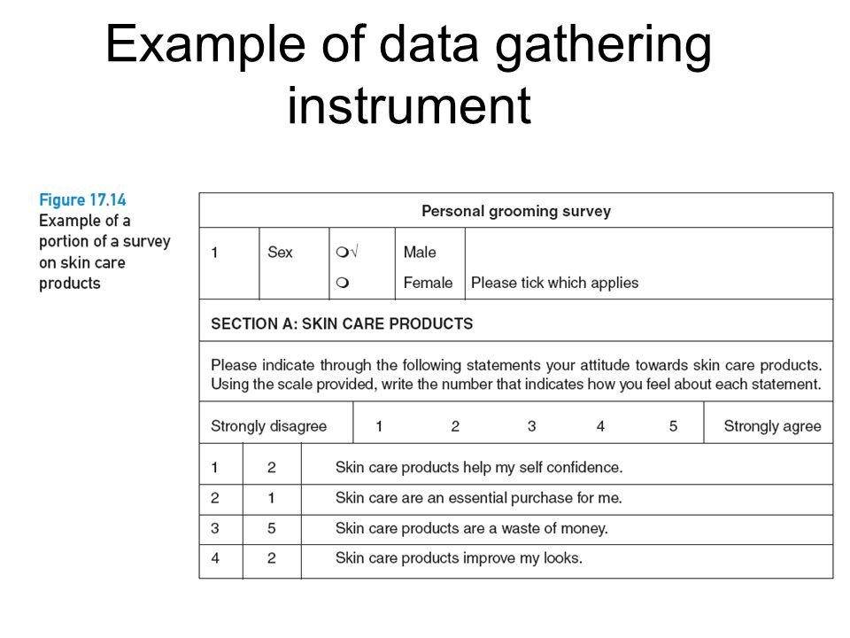 Example of data gathering instrument