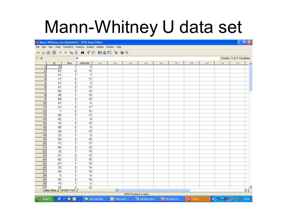 Mann-Whitney U data set