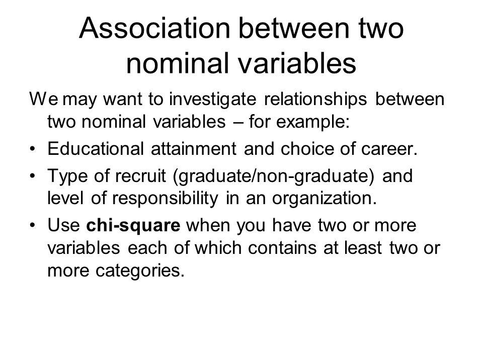 Association between two nominal variables