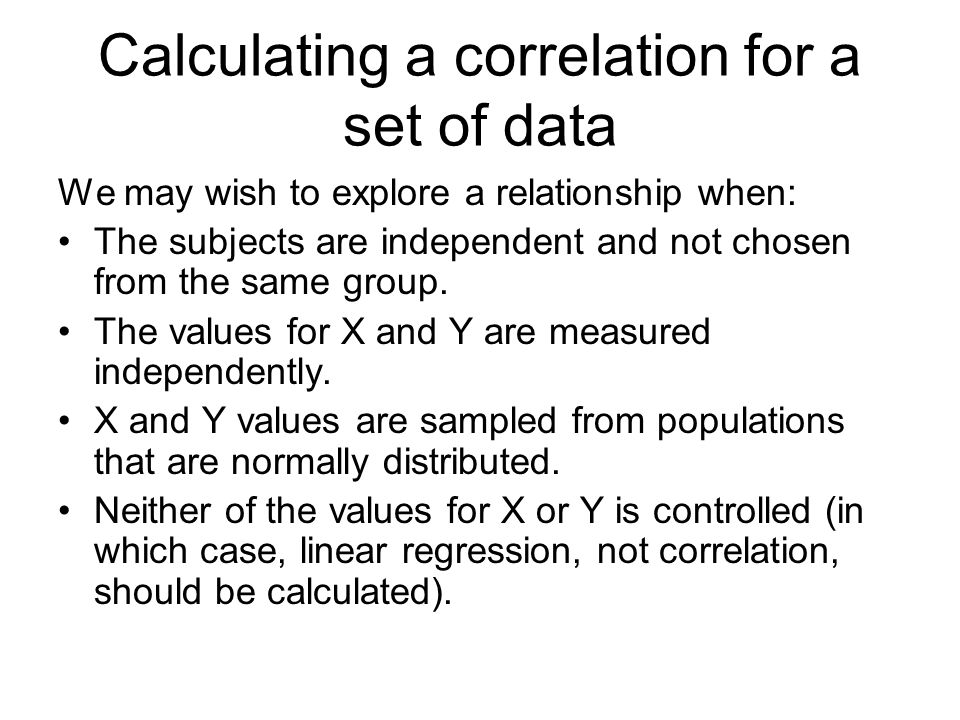 Calculating a correlation for a set of data