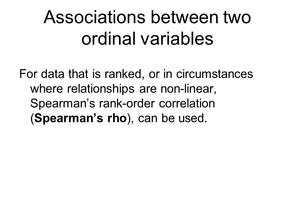 Associations between two ordinal variables