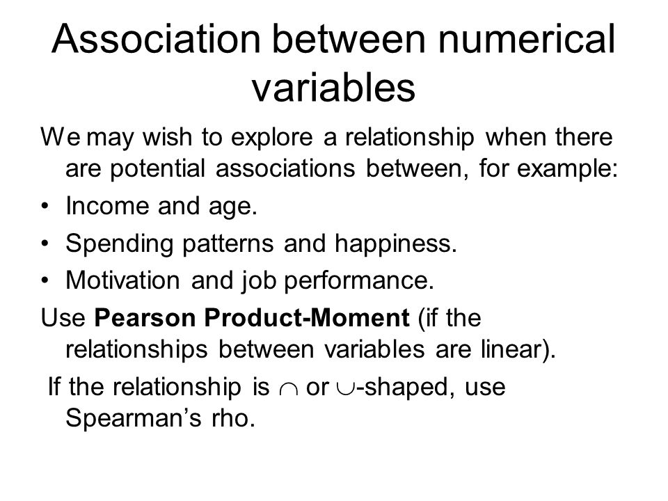 Association between numerical variables