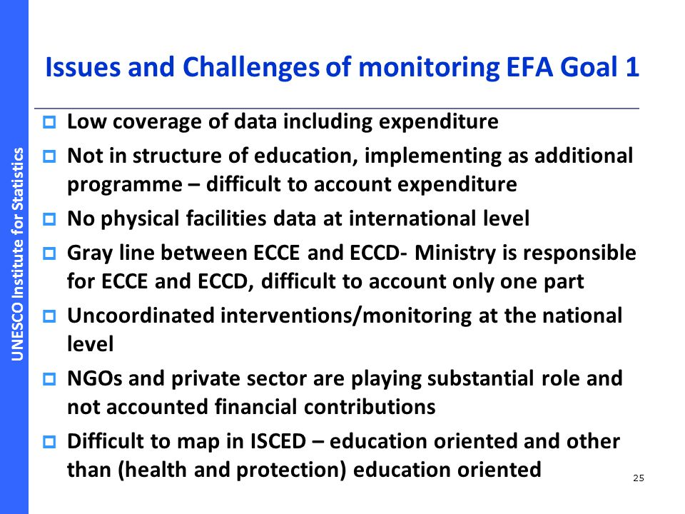 Issues and Challenges of monitoring EFA Goal 1