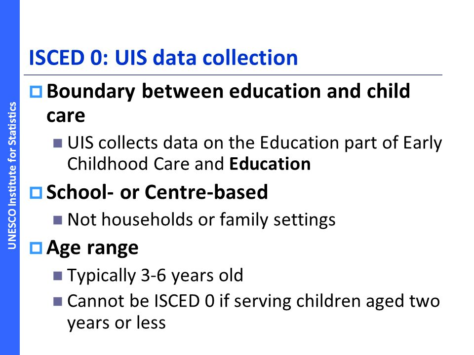 ISCED 0: UIS data collection