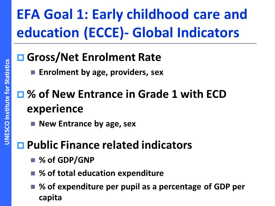 EFA Goal 1: Early childhood care and education (ECCE)- Global Indicators