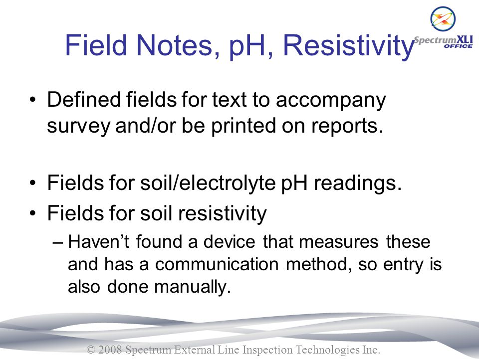 Field Notes, pH, Resistivity