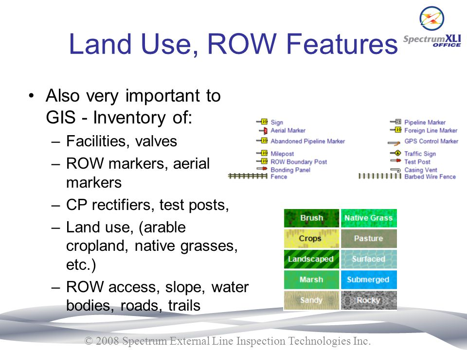 Land Use, ROW Features Also very important to GIS - Inventory of: