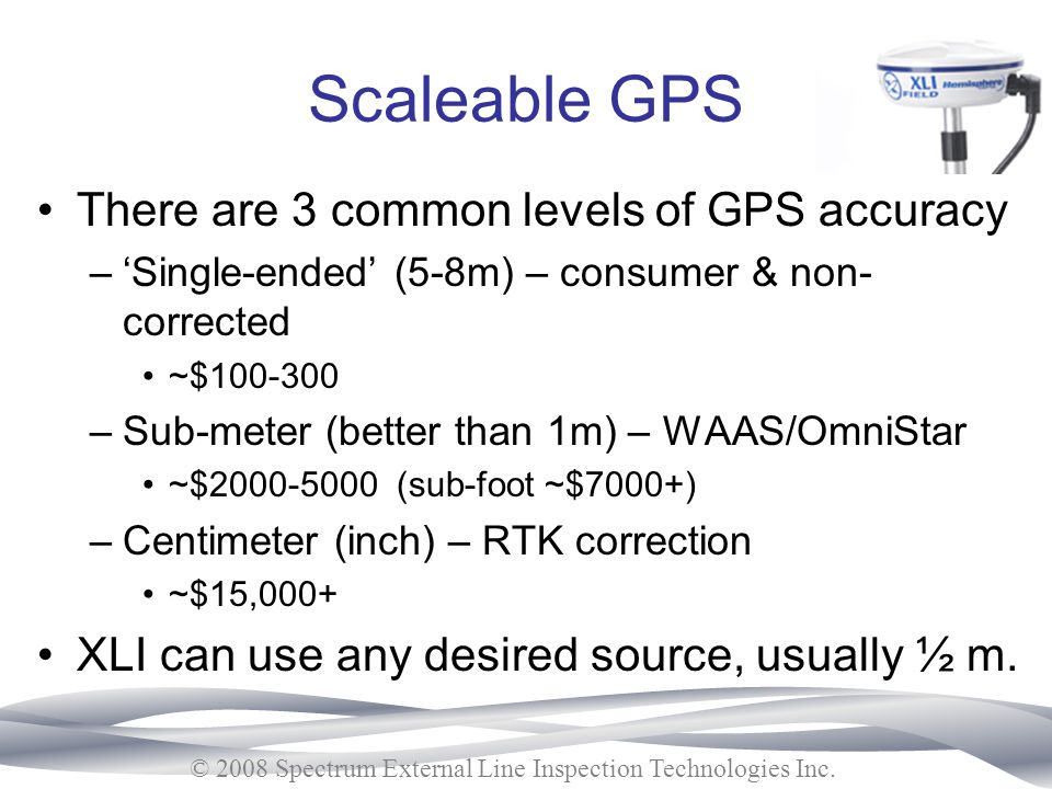 Scaleable GPS There are 3 common levels of GPS accuracy