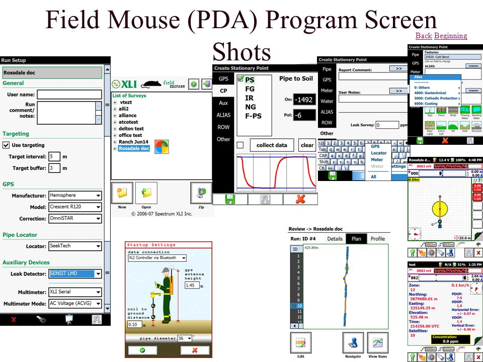 Field Mouse (PDA) Program Screen Shots