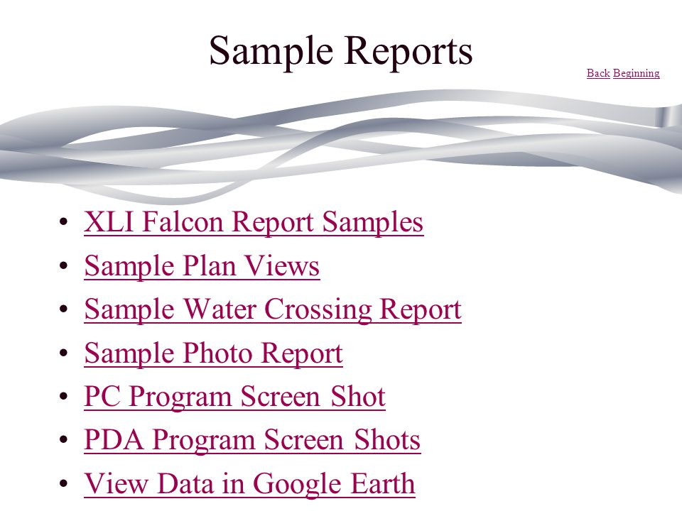 Sample Reports XLI Falcon Report Samples Sample Plan Views
