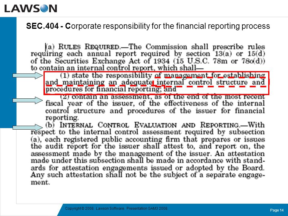 SEC.404 - Corporate responsibility for the financial reporting process