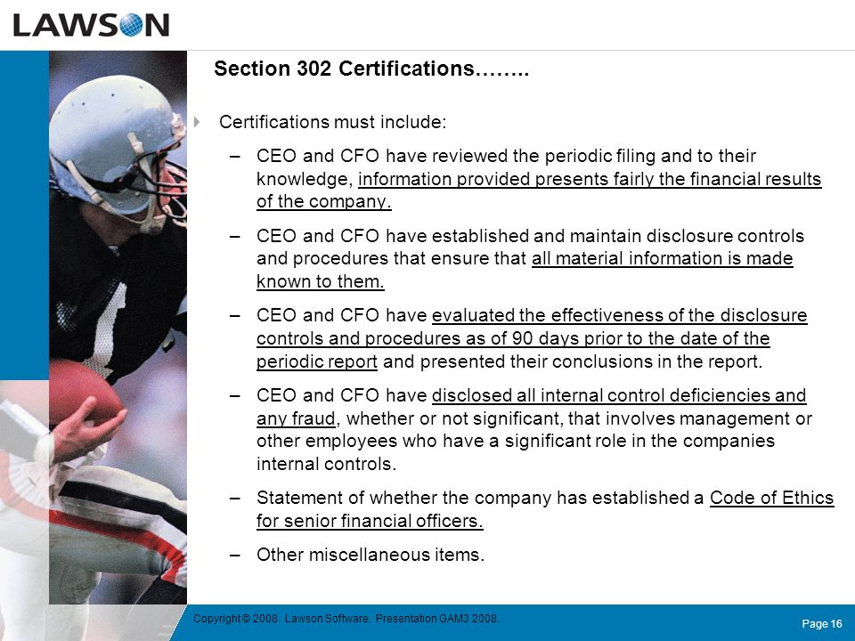 Section 302 Certifications……..