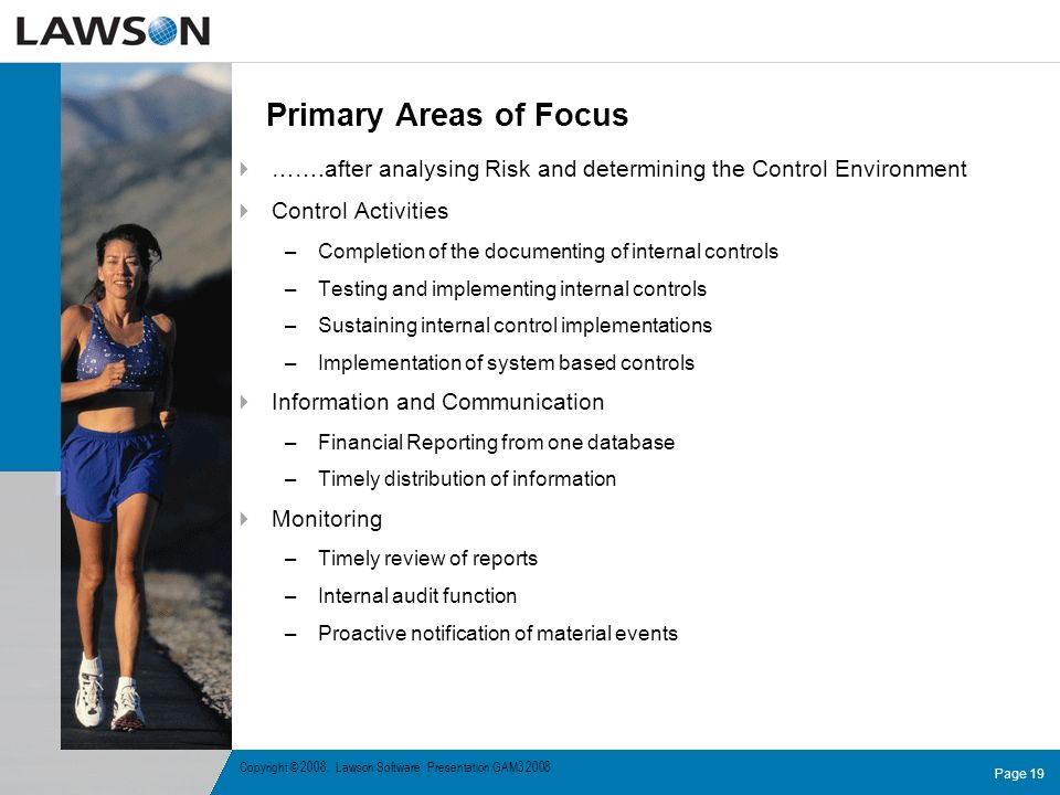 Primary Areas of Focus …….after analysing Risk and determining the Control Environment. Control Activities.