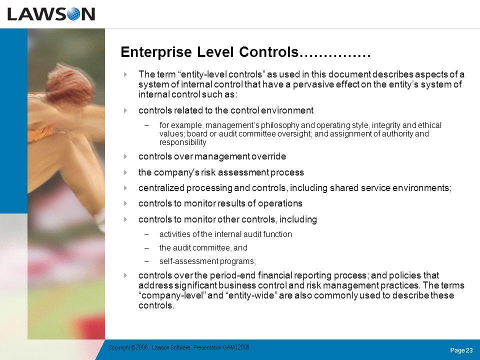 Enterprise Level Controls……………