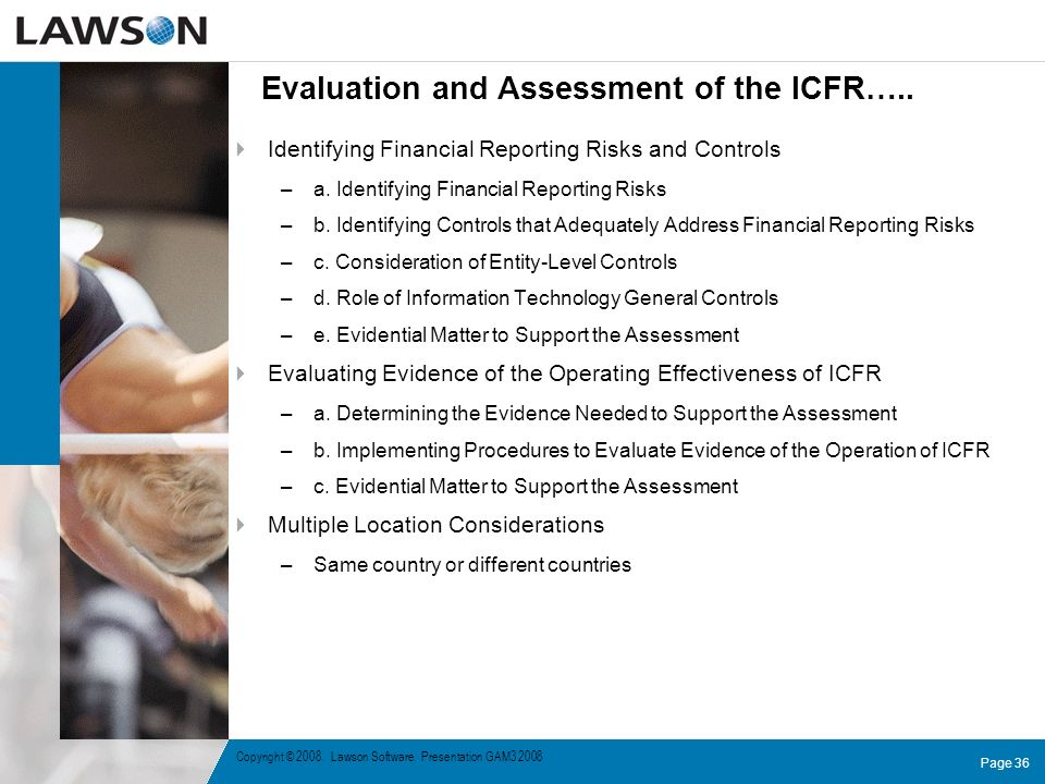 Evaluation and Assessment of the ICFR…..