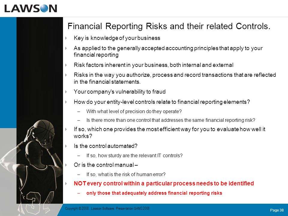 Financial Reporting Risks and their related Controls.