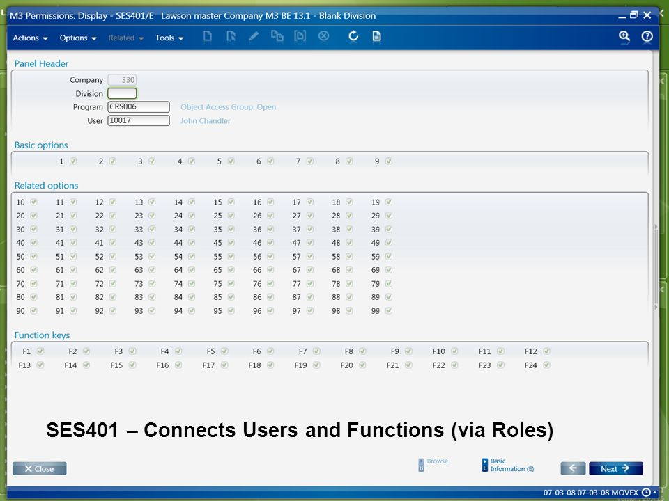 SES401 – Connects Users and Functions (via Roles)