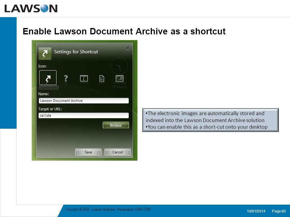 Enable Lawson Document Archive as a shortcut