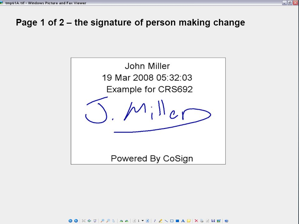 Page 1 of 2 – the signature of person making change