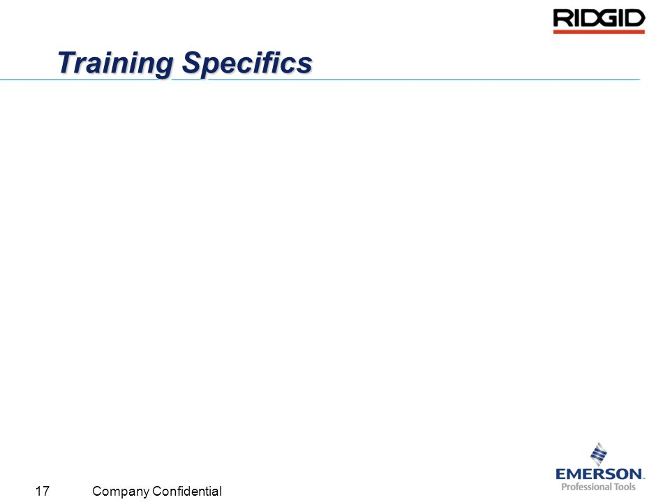 Training Specifics Company Confidential