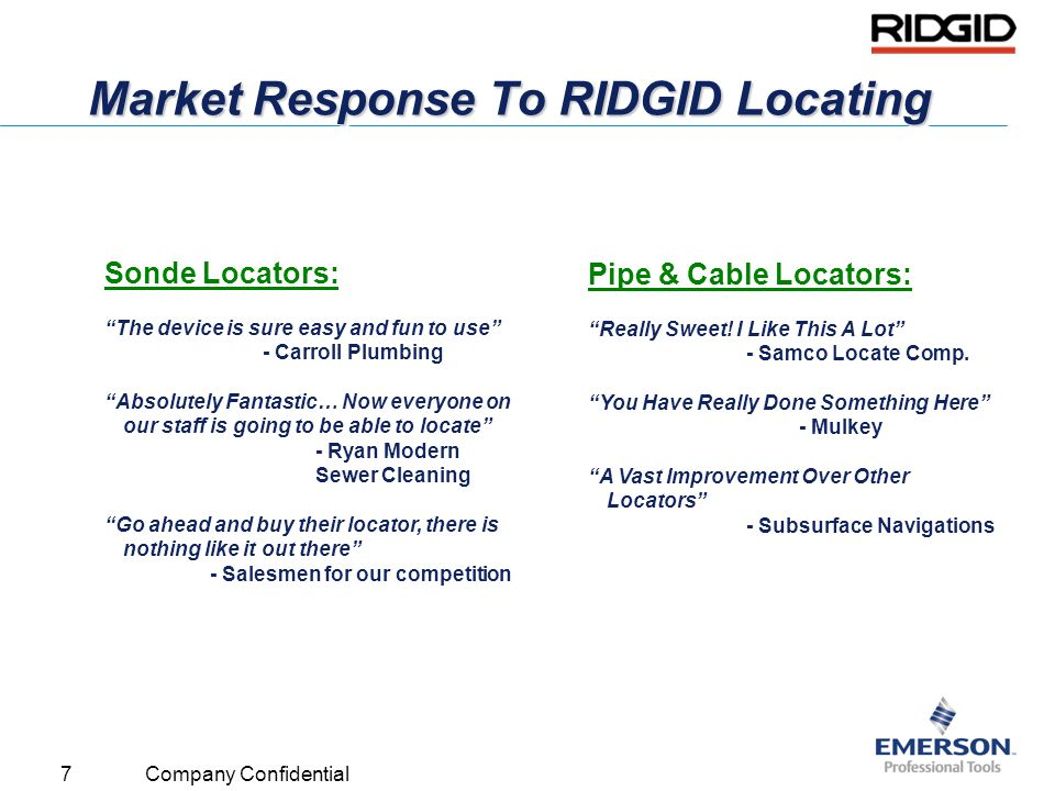Market Response To RIDGID Locating