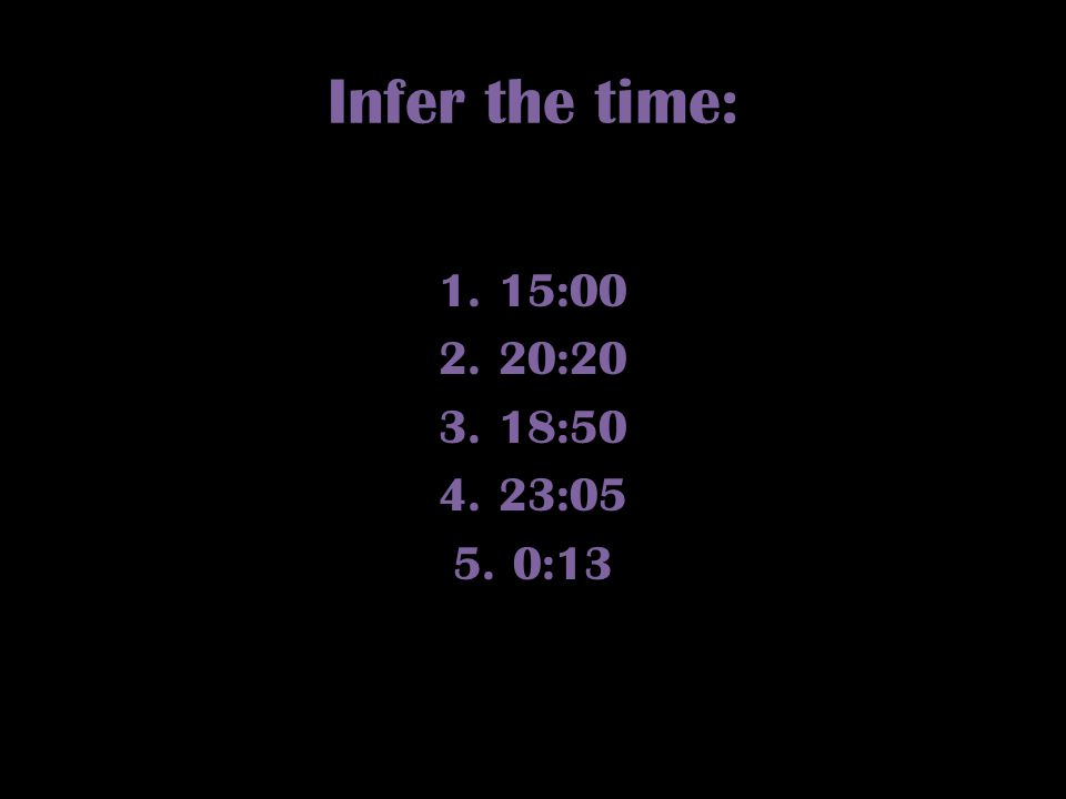 Infer the time: 15:00 20:20 18:50 23:05 0:13