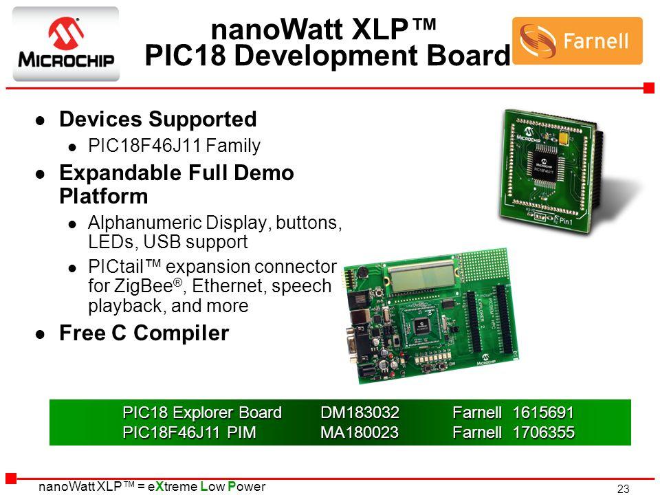 nanoWatt XLP™ PIC18 Development Board