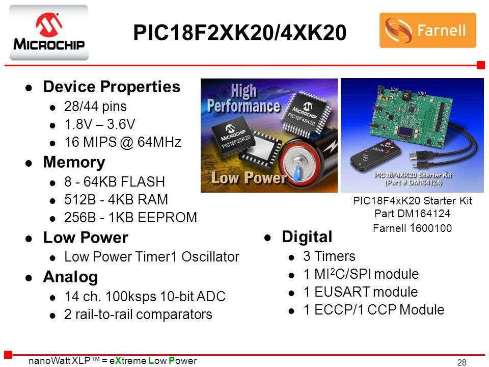 PIC18F2XK20/4XK20 Device Properties Memory Low Power Analog Digital