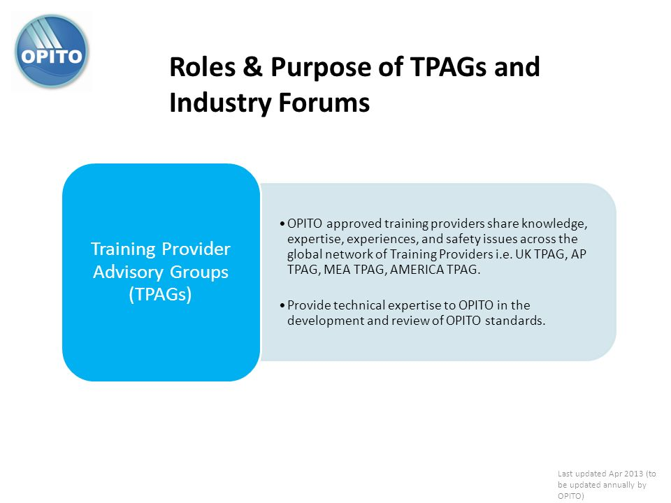 Training Provider Advisory Groups (TPAGs)