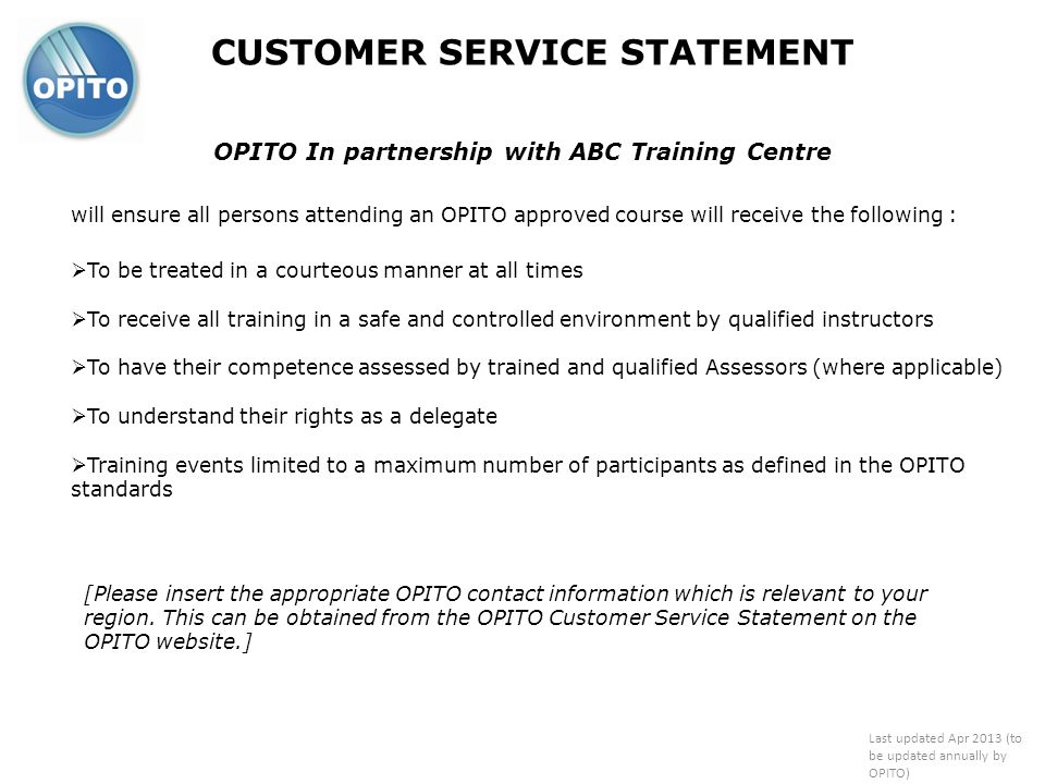 OPITO In partnership with ABC Training Centre