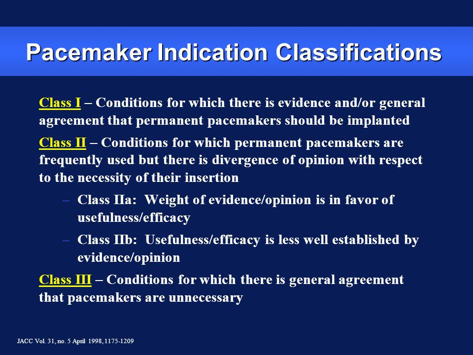 Pacemaker Indication Classifications