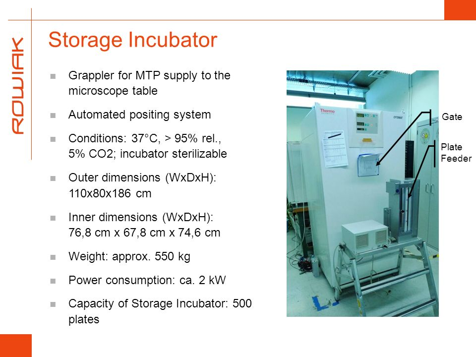 Storage Incubator Grappler for MTP supply to the microscope table