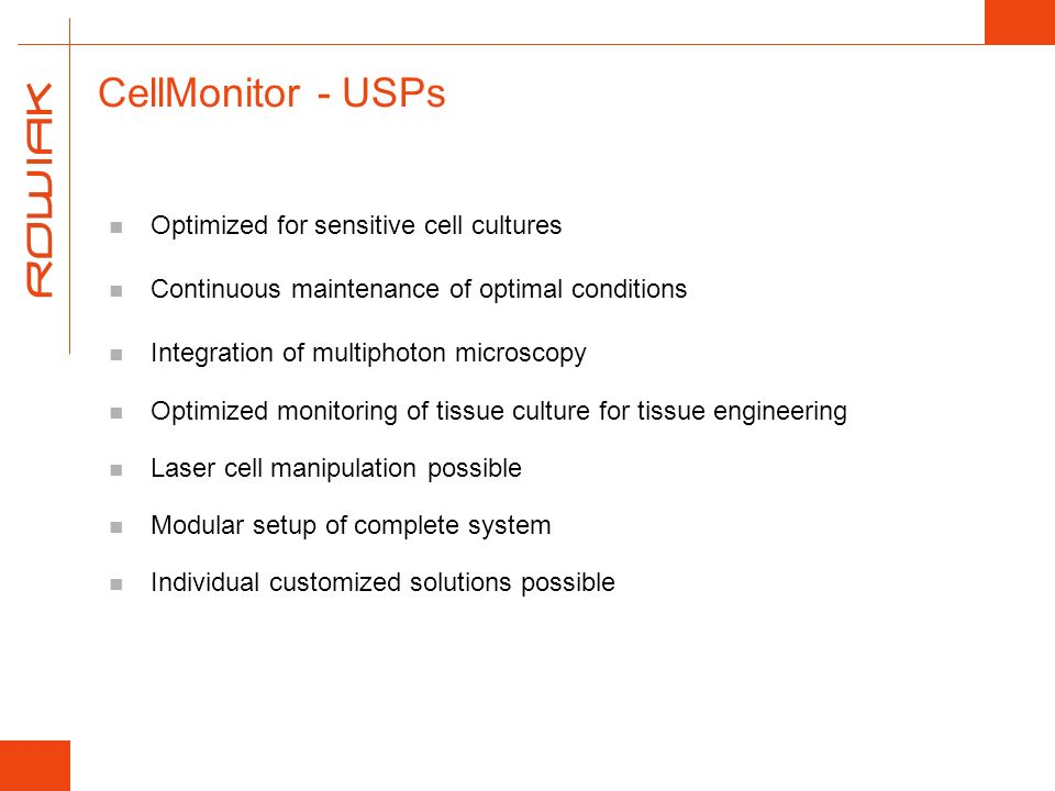 CellMonitor - USPs Optimized for sensitive cell cultures