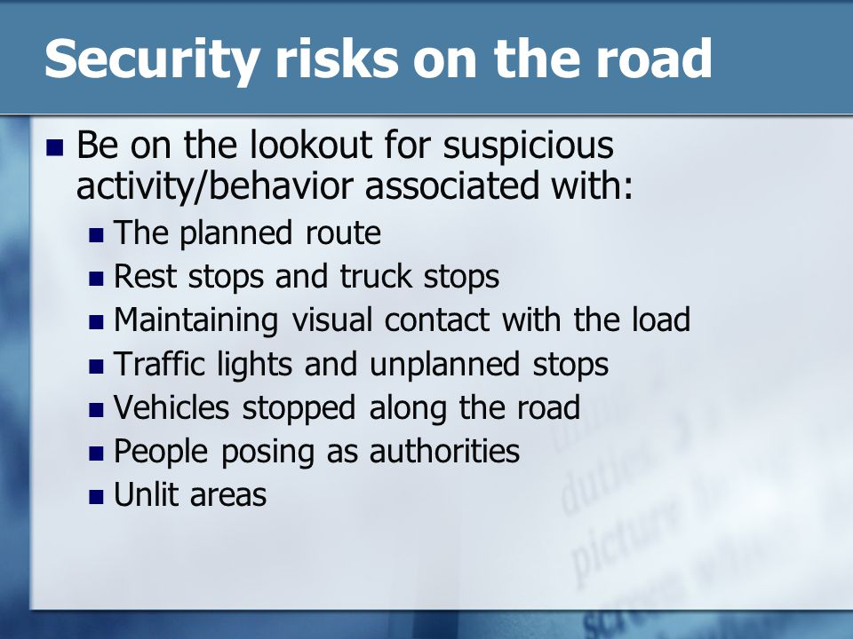 Security risks on the road
