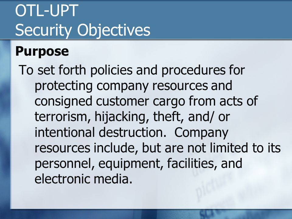 OTL-UPT Security Objectives