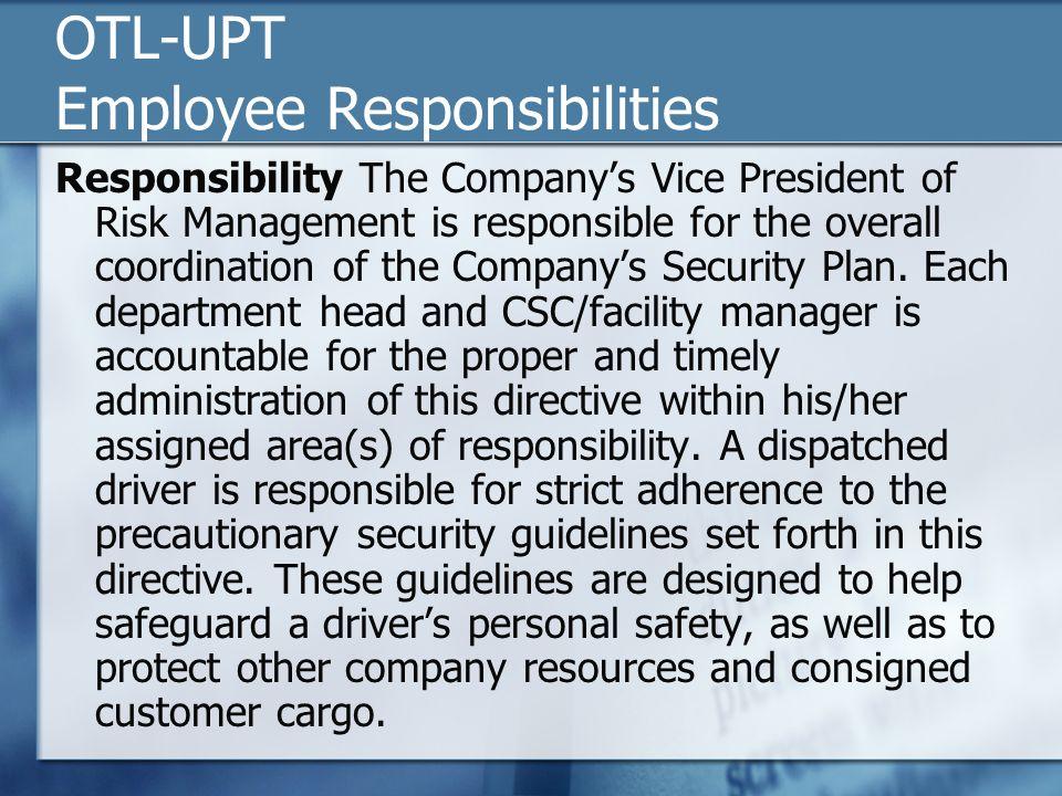 OTL-UPT Employee Responsibilities