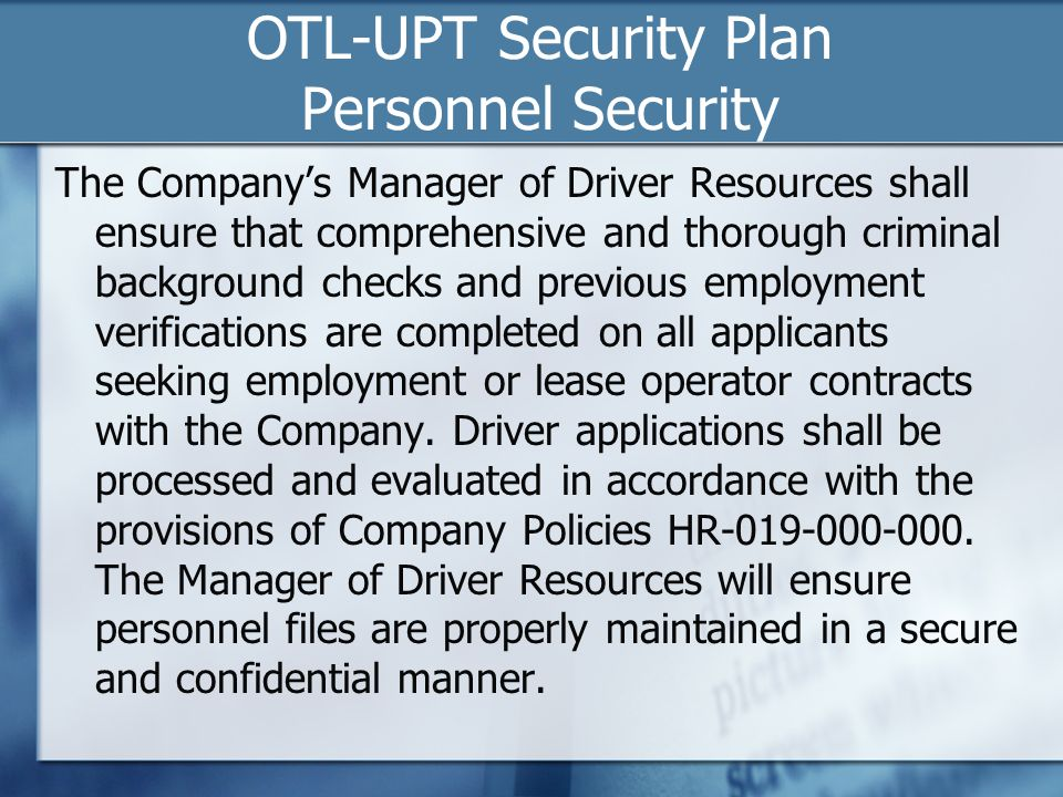 OTL-UPT Security Plan Personnel Security